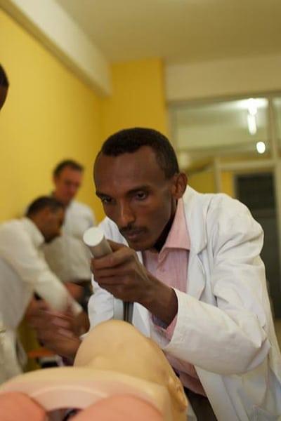 Doctor learning pediatric emergency medicine