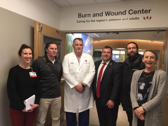 Left to right: Lori Mickleson, UW Health; Tyler Jefferson, Jefferson Fire & Safety; Dr. Lee Faucher, UW Health; Mike Wos, PFFWCF; Jesse Laz-Hirsch, Paul Davis Restoration; Dr. Angela Gibson, UW Health.